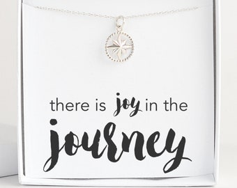 Sterling Silver Compass Necklace for Women, Inspirational Jewelry, Meaningful Gift for Daughter Best Friend Sister, Joy in the Journey Charm