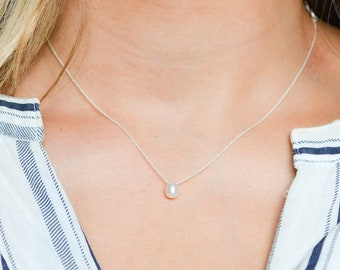 Sterling Silver Real Pearl Necklace, Freshwater Pearl Jewelry, Floating White Pearl Charm, Single Pearl Necklace, Modern Gift for Bridesmaid