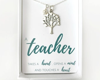 Teacher Gift Necklace - Personalized Teacher Jewelry Gifts - Gift for Teacher Friend - Elementary School Teacher Gift for Her - Gift Idea