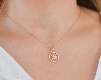 cz Graduation Jewelry Gifts N5176 Sparkly Micro Pave Diamond Navigation Gift GOLD-FILLED COMPASS Necklace Cubic Zirconia Travel Pendant