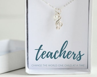 Piano Teacher Gift - Music Teacher Necklace - Band Teacher Gift - Silver Music Necklace - Music Teacher Appreciation - Gift for Music Lover