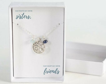 Family Tree Necklace for Sister - Family Necklace  - Sister Birthday Gift - Sister Birthstone Necklace - Birthstone Family Jewelry - For Her