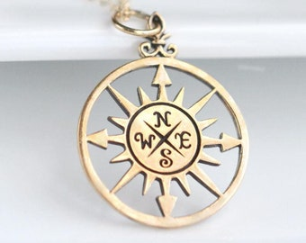 College Graduation Gift for Her Gold Compass Necklace Travel Gift Idea 2018 High School Grad Necklace for Daughter Graduation Jewelry Custom