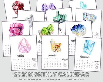 2021 Printable Calendar, Birthstone Art Calendar, Minimalist Calendar Printable, Gemstone Digital Calendar, Crystal Downloadable Calendar
