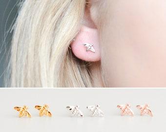 Silver Bee Earrings, Bumble Bee Earrings, Tiny Stud Earrings for Her, Rose Gold Bee Earrings, Small Stud Earrings, Minimalist Stud Earrings