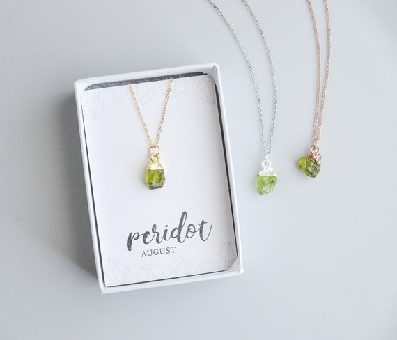 Raw Peridot Necklace Sterling Silver, Rose Gold And 14k Goldfilled, August Birthstone Necklace   Birthday Gift For Best Friend Sister by Etsy