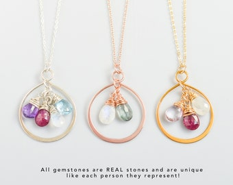 Silver, Gold, Rose Gold Family Birthstone Necklace for Mom or Grandma, Personalized Jewelry Gift, Custom Genuine Gemstone Pendant for Women