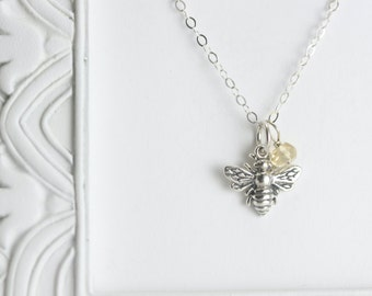 Silver Bee Necklace - Sterling Silver Personalized Birthstone Necklace - Sterling Silver Bee Jewelry - Custom Birthstone Necklace