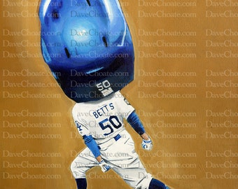 Mookie Betts, Los Angeles Dodgers World Series Home Run ART Photo Print