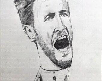 Harry Kane, England Soccer / Football original pencil drawing
