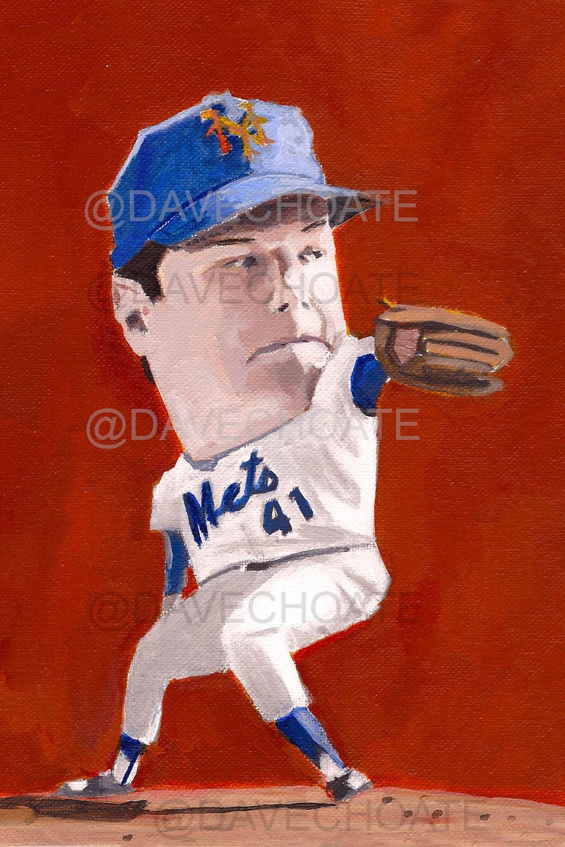 100% authentic ab2e5 444e7 Tom Seaver, New York Mets Art Photo Print from Original Painting