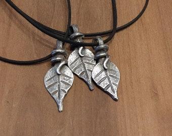 Leaf Pendant - Pewter Cast