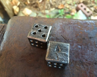 Customized Steel Six Sided Dice (Sold as a pair) - Hand Forged, Metal Dice, Gaming Gifts, Gift Dice, Gift for Him, Anniversary, groomsmen
