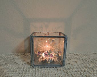 Pressed Flower Votive Candle Holder. Leaded Glass with Dried Flowers. Square Glass Tea Light Holder. Clear Glass Soldered Candle Holder.