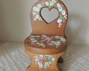 Hand Painted Doll Chair. Small Wood Floral Painted Display Chair.  Hand Painted Flowers on Knotty Pine Wood Chair. Doll Collector