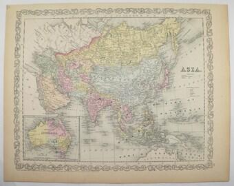 Large Antique Asia Map China India Middle East 1898 | Etsy