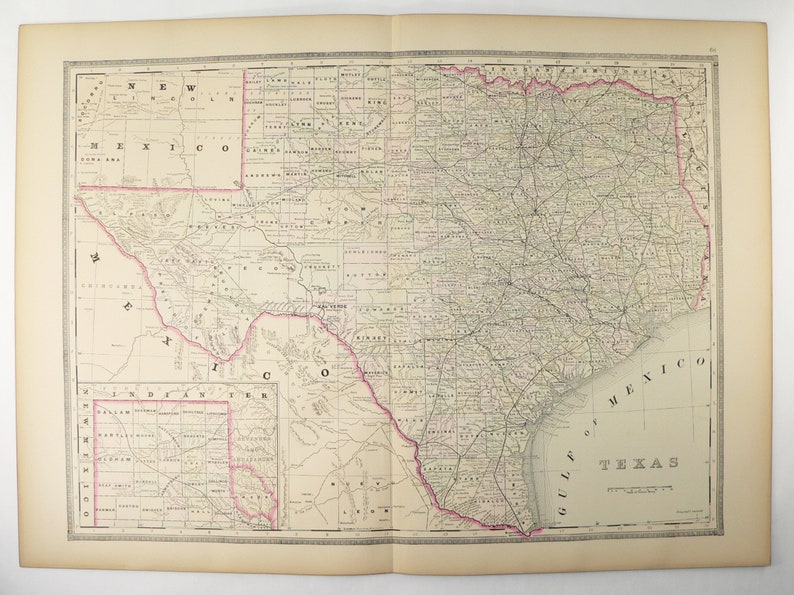 Map Of The Texas.Large Texas Map 1889 Bradley Map Of Texas State County Map Etsy