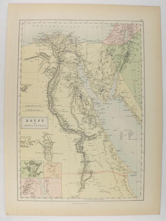 1884 Antique Map Of Egypt Original Vintage Map Sinai Etsy