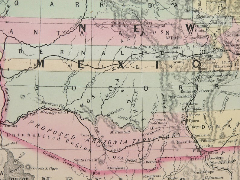 Map Of Arizona 1858.1858 Mitchell Desilver Map Of California Oregon Washington Etsy