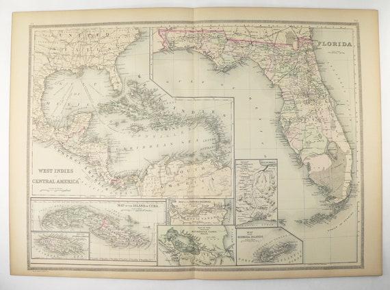 Cuba Florida Map.Large Vintage Florida Map West Indies Cuba Map Central Etsy