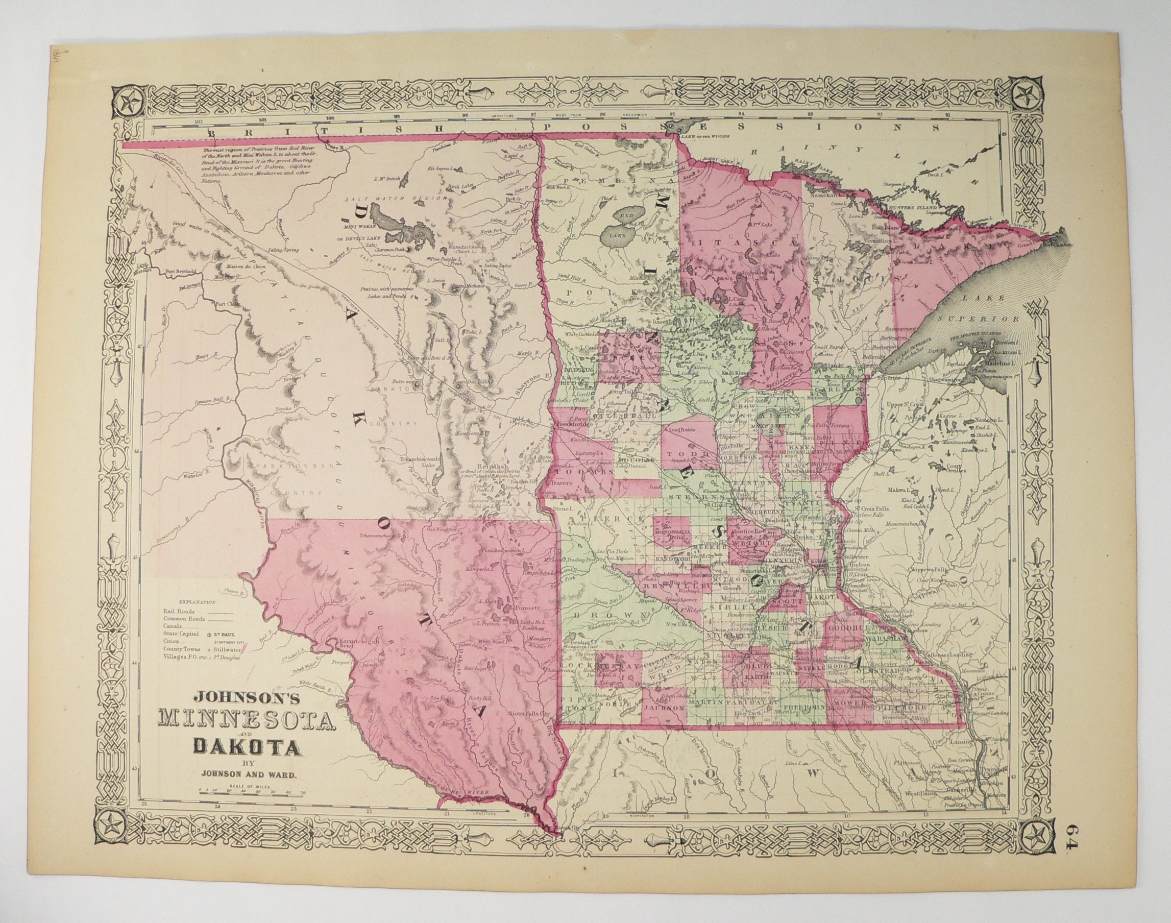 1864 Johnson Minnesota Map Dakota Territory Map North Dakota Etsy