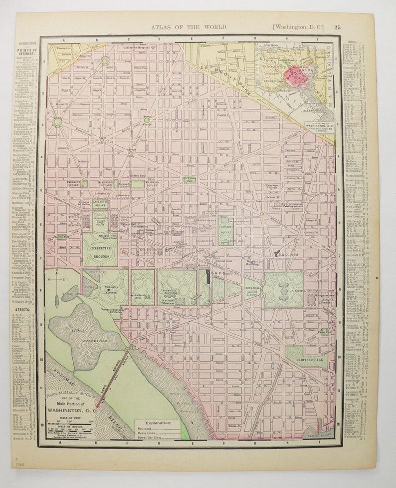 1900 Map Washington Dc Map Us Capital City Street Map Etsy - Washington-dc-on-a-map-of-the-us