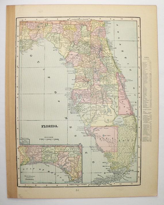 North Carolina Map South Carolina, Florida Map Georgia 1900 Vintage Map,  Southern Wedding Gift for Couple, Housewarming Gift, Geography Map