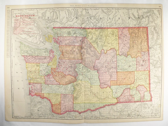 Large Washington Map, Big Antique Map Washington State Map 1903 Vintage WA  Map, RR Railroad Map, Washington Gift for Him, Vintage Art Gift