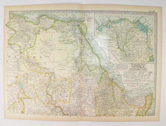 Antique NE Africa Map 1899 Egypt Map Sahara Desert Nile | Etsy