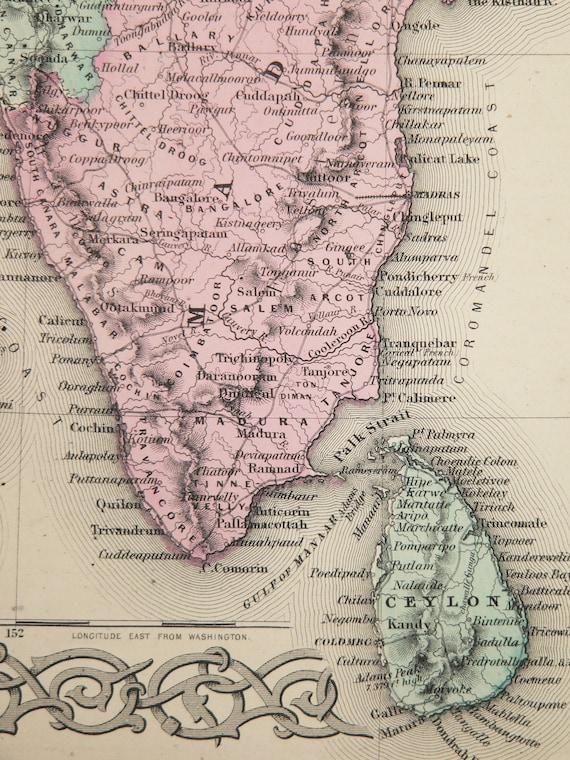 1856 Antique Map India, British India Map Nepal 1856 Colton Map, Hindostan  Art Gift, India Wedding Gift for Couple, India Art Man Cave Decor