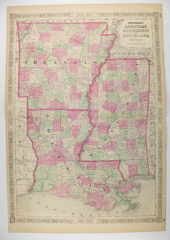 Arkansas And Louisiana Map.1864 Louisiana Mississippi And Arkansas Map Original Hand Etsy