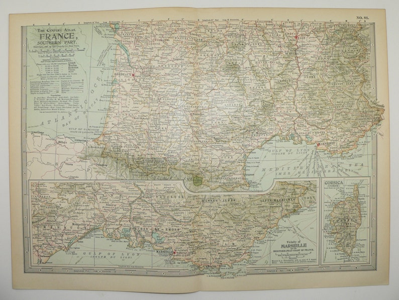 Map South Of France Coast.1902 Southern France Map Mediterranean Coast Travel Map Unique Wanderlust Gift Under 20
