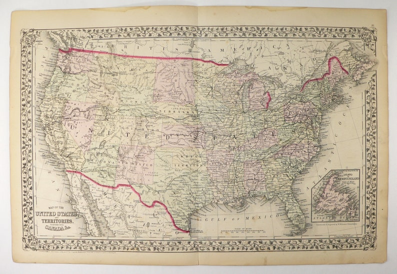 Antique Map Of United States Map Usa Vintage Map 1872 Mitchell Etsy