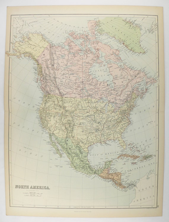 1884 Vintage North America Map United States Mexico Map Etsy