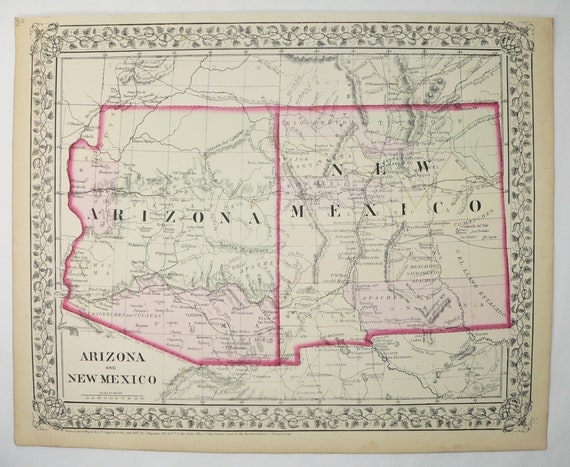 Map Of Arizona And New Mexico.Real 1872 Mitchell Arizona Map New Mexico Map Az Map Nm Etsy