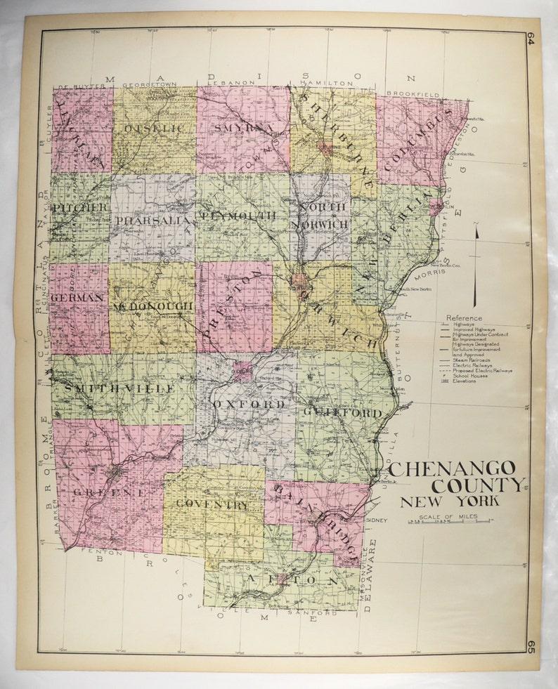 1912 Large Chenango County NY Map New York County Original   Etsy on