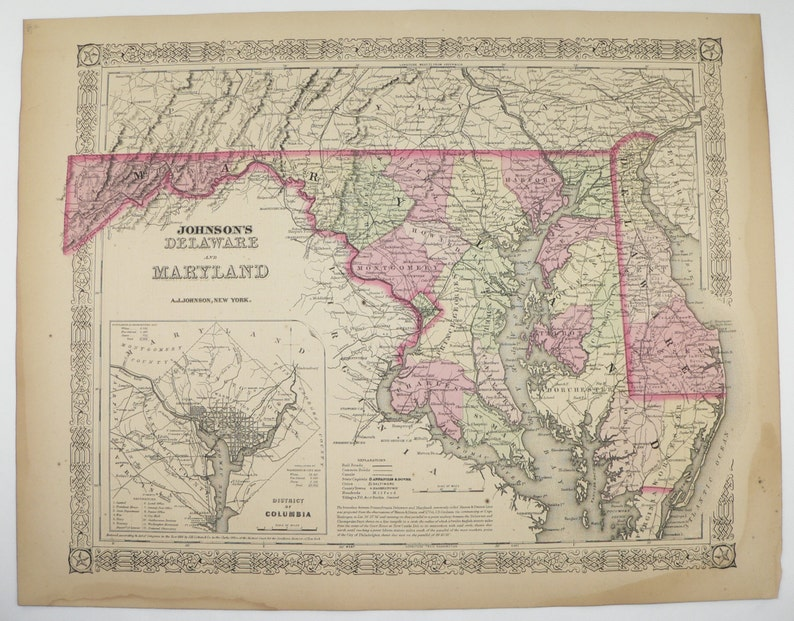 Vintage Map Maryland Delaware Map 1867 Johnson Map Antique | Etsy