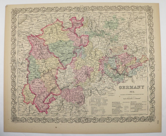 Nw Germany Map Original 1859 Colton Map Old World Map Etsy