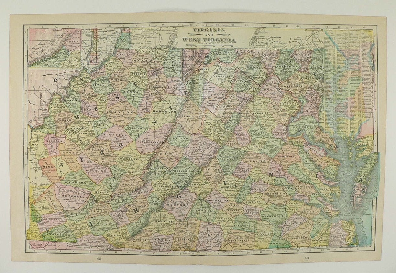 Old Virginia Map West Virginia Indiana Map Ohio 1900 Vintage Etsy