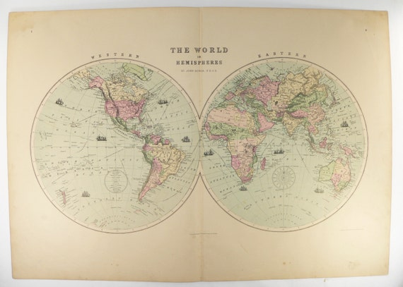 Large Vintage Map Of The World.Antique World Map Hemispheres Map 1873 Large Vintage Map Of Etsy