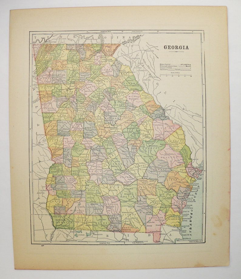 Peachtree Georgia Map.1896 Vintage Georgia Map Peachtree State Map Georgia Gift Etsy