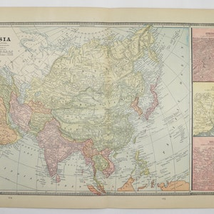 1885 Antique Asia Map, Russia, Pakistan, Afghanistan, Map Of Middle East