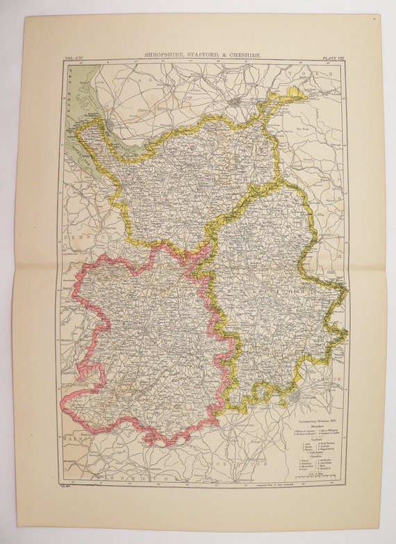 1894 Antique Map Shropshire Stafford Map Cheshire England Etsy
