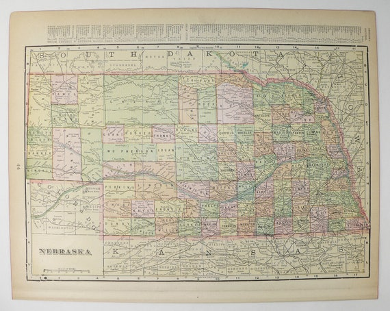 Old Nebraska Map Kansas County Map 1899 Antique MidWest State | Etsy