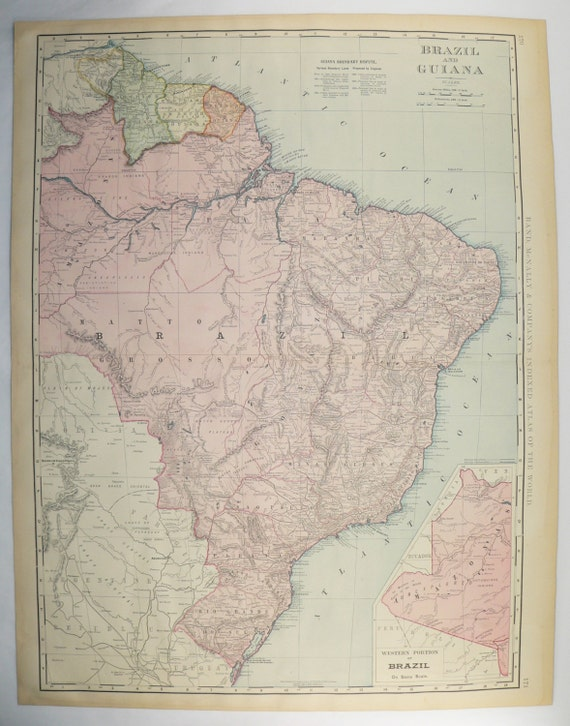 Vintage South America Map Brazil Guiana Map 1899 Large Map Etsy