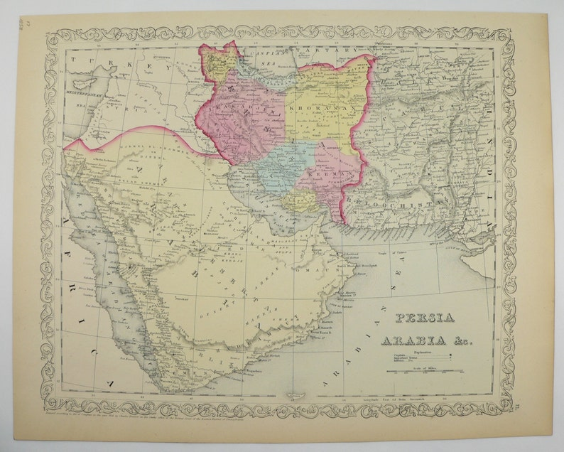 Original 1858 Mitchell Persian Gulf Map Saudi Arabia Persia Etsy