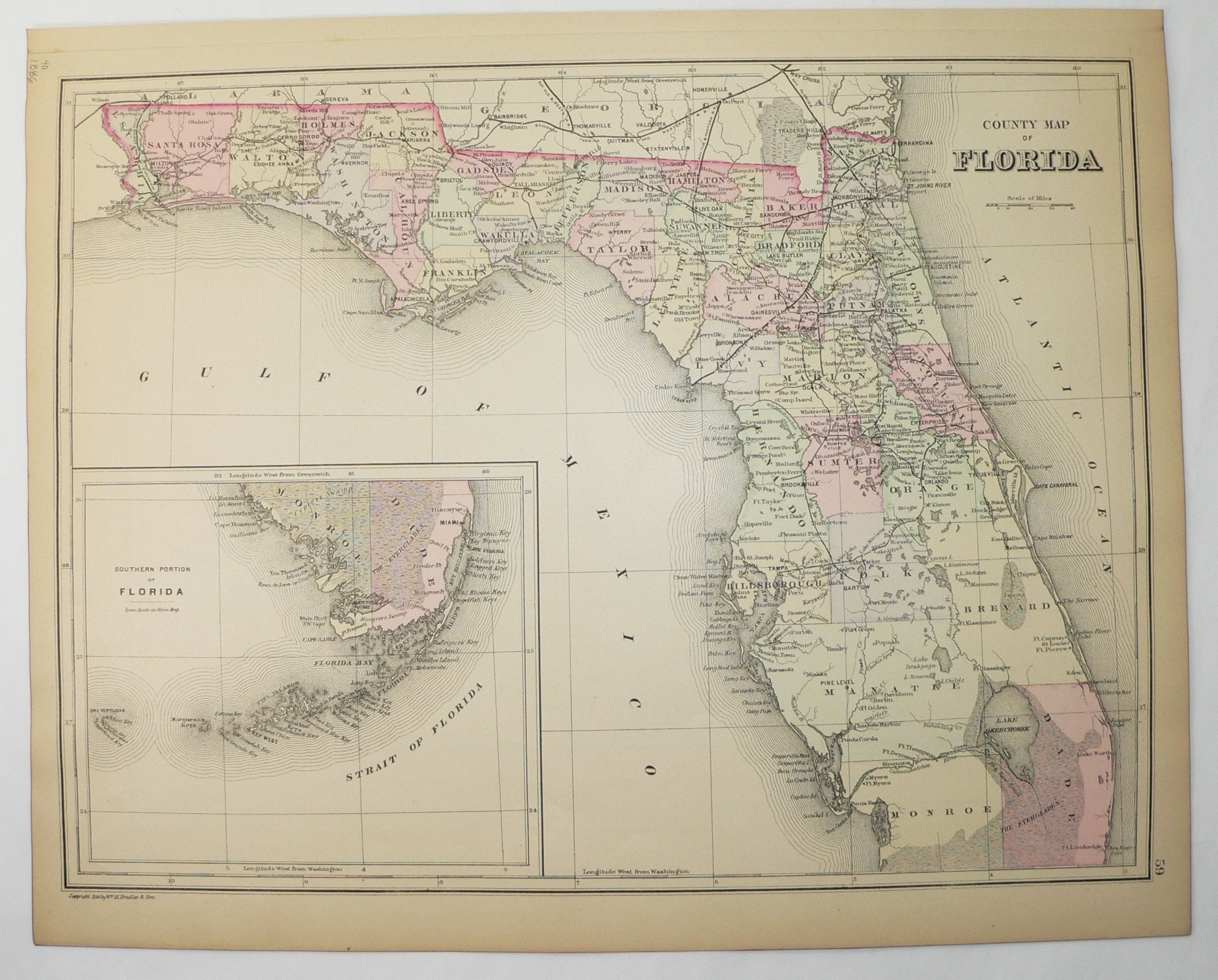 Antique Map Of Florida.1886 Real Antique Map Of Florida By Bradley With Florida Keys Etsy