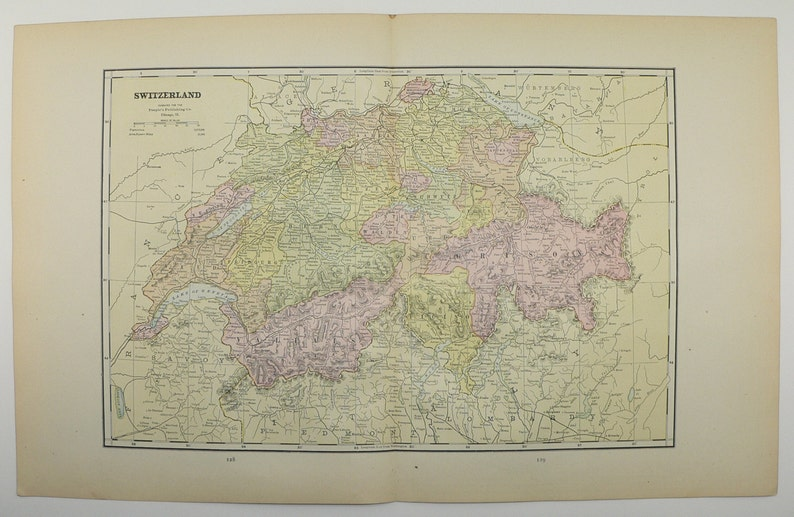 1886 Antique Map Switzerland Swiss Alps Mountains Old World | Etsy