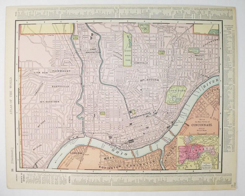 Antique Ohio Map.Vintage Map Cincinnati Ohio Map 1900 Antique State Map City Etsy