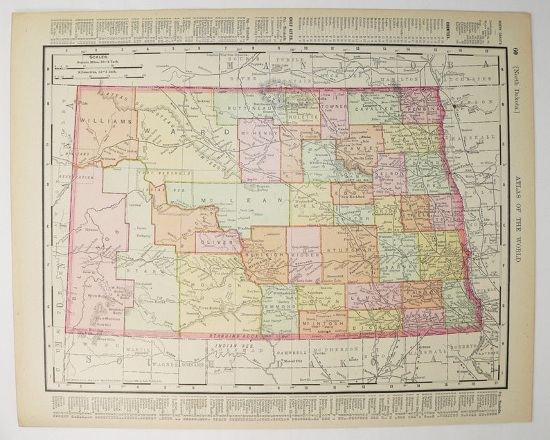 1900 Antique South Dakota Map North Dakota Gift Vintage Map | Etsy